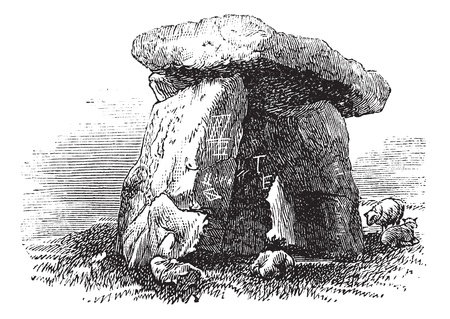 dos: Dolmen or Portal Tomb or Portal Grave, during the 1890s, vintage engraving. Old engraved illustration of a Dolmen.