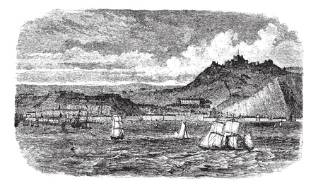 english culture: Dover in England, United Kingdom, during the 1890s, vintage engraving. Old engraved illustration of Dover showing ships at sea.