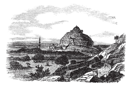 Daulatabad Fort in Maharashtra, India, during the 1890s, vintage engraving. Old engraved illustration of Daulatabad Fort.