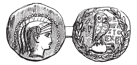 Tetradrachm from Athens or Greek Silver Coin, vintage engraving. Old engraved illustration of a Tetradrachm from Athens showing Athena on the front (head) and an owl on the rear (tail) sides. Vector