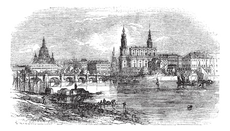 conurbation: Dresden in Saxony, Germany, during the 1890s, vintage engraving. Old engraved illustration of Dresden as viewed from the Elbe River bank.