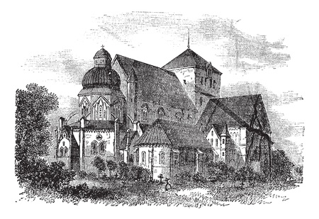 巡礼: 1890 年代の間に、ノルウェーのトロンハイムのニーダロス大聖堂ビンテージ彫刻。古いは、ニーダロス大聖堂のイラストを刻まれています。