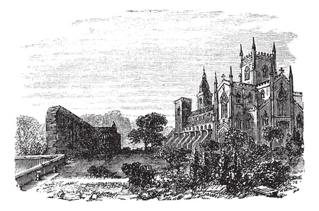 fife: Dunfermline in Fife, Scotland, during the 1890s, vintage engraving. Old engraved illustration of Dunfermline. Illustration
