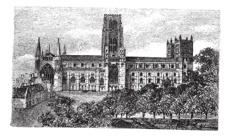Durham Cathedral in England, United Kingdom, during the 1890s, vintage engraving. Old engraved illustration of Durham Cathedral.