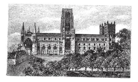 La catedral de Durham en Inglaterra, Reino Unido, durante la década de 1890, el grabado de la vendimia. Ilustración del Antiguo grabado de la catedral de Durham. Foto de archivo - 13772346
