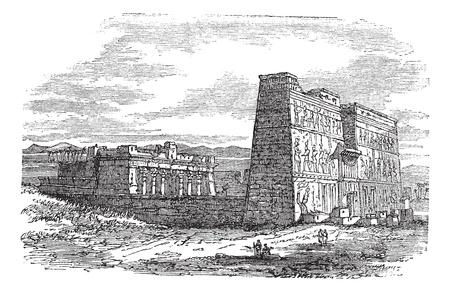 remain: Edfu in Aswan, Egypt, during the 1890s, vintage engraving. Old engraved illustration of Edfu.