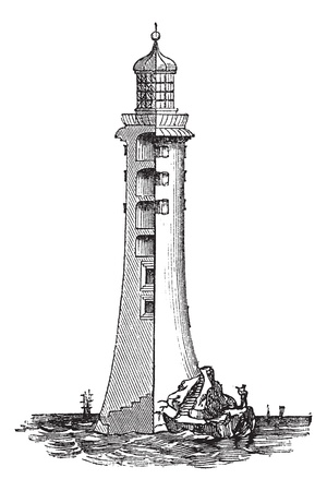 Lighthouse: Eddystone Lighthouse, in England, United Kingdom, vintage engraved illustration. Trousset encyclopedia (1886 - 1891).