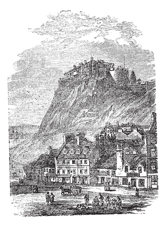 Edinburgh Castle in Scotland, during the 1890s, vintage engraving. Old engraved illustration of Edinburgh Castle. Çizim