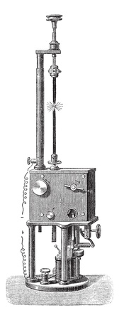 voltaic: Foucault & Dubosc Electromagnetic Regulator, vintage engraved illustration. Trousset encyclopedia (1886 - 1891). Illustration