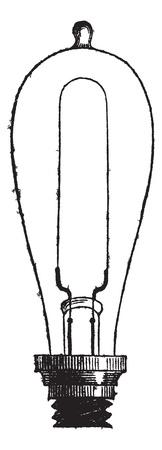 incandescent: Incandescent Lamp or Carbon-filament Lamp by Thomas Alva Edison, vintage engraved illustration. Trousset encyclopedia (1886 - 1891).