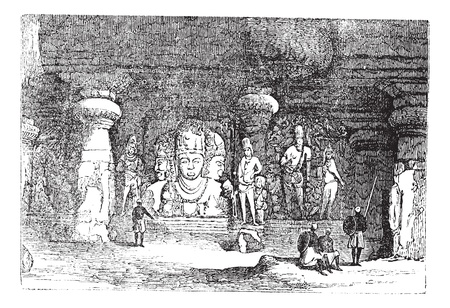 archaeological: Elephanta Cave in Maharashtra, India, during the 1890s, vintage engraving. Old engraved illustration of an Elephanta Cave showing wall sculptures. Illustration