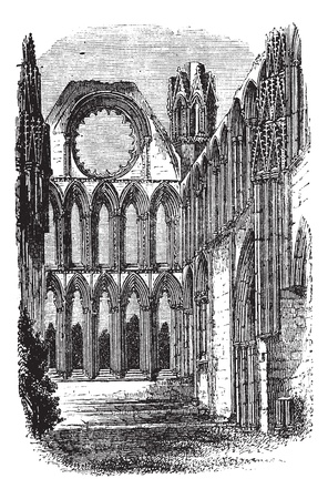 trinity: Elgin Cathedral in Moray, Scotland, during the 1890s, vintage engraving. Old engraved illustration of Elgin Cathedral.