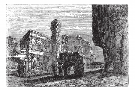 Kailash Temple in Ellora, Maharashtra, India, during the 1890s, vintage engraving. Old engraved illustration of Kailash Temple.