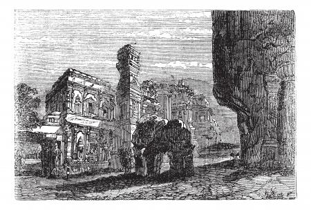 archaeological: Kailash templo de Ellora, Maharashtra, India, durante la d�cada de 1890, el grabado de la vendimia. Ilustraci�n del Antiguo grabado del templo de Kailash. Vectores