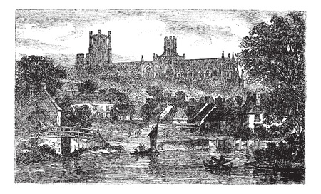 english culture: Ely Cathedral in Cambridgeshire, England, United Kingdom, during the 1890s, vintage engraving. Old engraved illustration of Ely Cathedral.