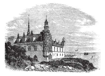 unesco: Kronborg Castle in Helsingor, Denmark, during the 1890s, vintage engraving. Old engraved illustration of Kronborg Castle. Illustration