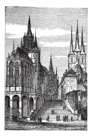 Erfurt Cathedral in Thuringia, Germany, during the 1890s, vintage engraving. Old engraved illustration of Erfurt Cathedral. Иллюстрация
