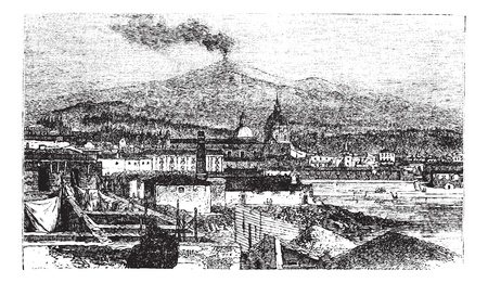 Mount Etna in Sicily, Italy, during the 1890s, vintage engraving. Old engraved illustration of Mount Etna as viewed from Catania City. Ilustração