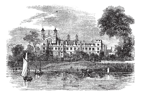 english culture: Eton College in Windsor, England, United Kingdom, during the 1890s, vintage engraving. Old engraved illustration of Eton College. Illustration