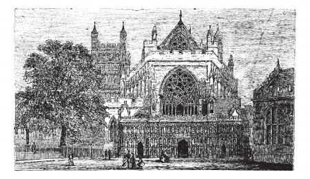 peter: Exeter Cathedral in England, United Kingdom, during the 1890s, vintage engraving. Old engraved illustration of Exeter Cathedral.