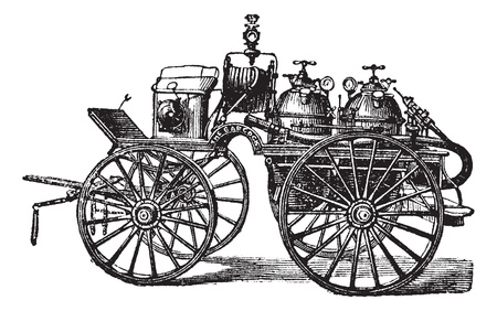 horse drawn carriage: Horse-driven Fire Wagon, vintage engraved illustration. Trousset encyclopedia (1886 - 1891).
