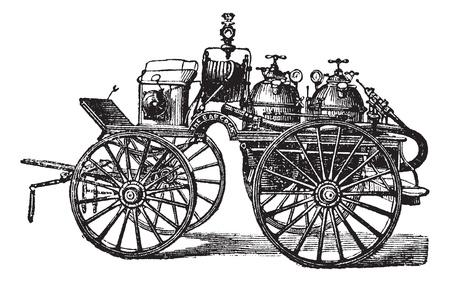 drawn metal: Horse-driven Fire Wagon, vintage engraved illustration. Trousset encyclopedia (1886 - 1891).