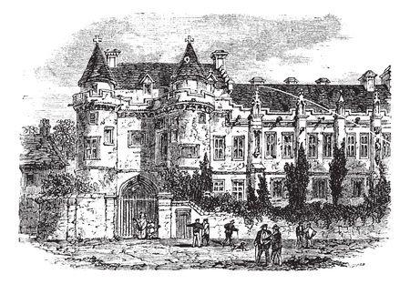 Falkland Palace in Fife, Scotland, United Kingdom, during the 1890s, vintage engraving. Old engraved illustration of Falkland Palace. Vector