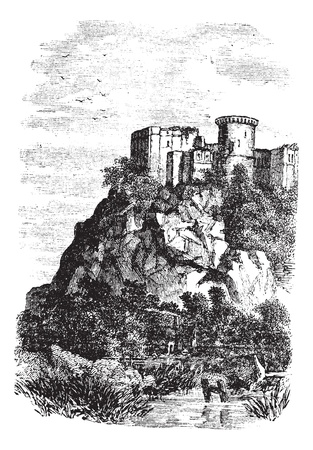 Falaise Castle in Normandy, France, during the 1890s, vintage engraving. Old engraved illustration of xxxxx. Vector