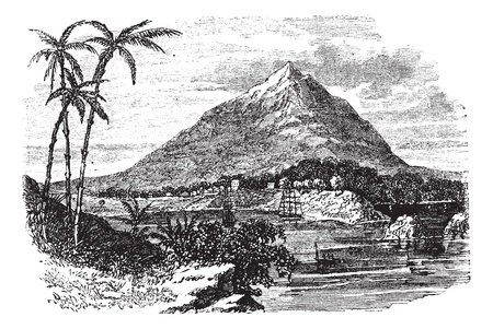 guinea: Bioko Island or Fernando Po Island in the Republic of Equatorial Guinea, during the 1890s, vintage engraving. Old engraved illustration of Bioko Island or Fernando Po Island. Illustration