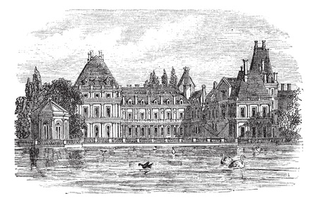 Fontainebleau Palace in Paris, France, during the 1890s, vintage engraving. Old engraved illustration of Fontainebleau Palace. Vector