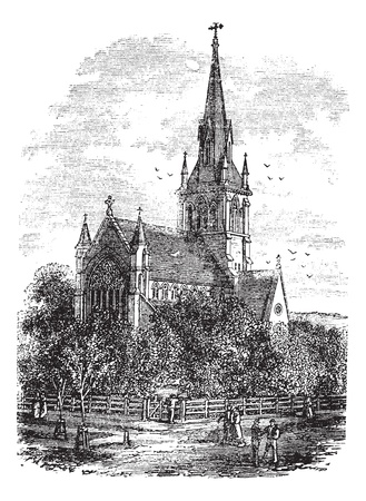 Christ Church Cathedral in Fredericton, New Brunswick, Canada, during the 1890s, vintage engraving. Old engraved illustration of Christ Church Cathedral.  Vector