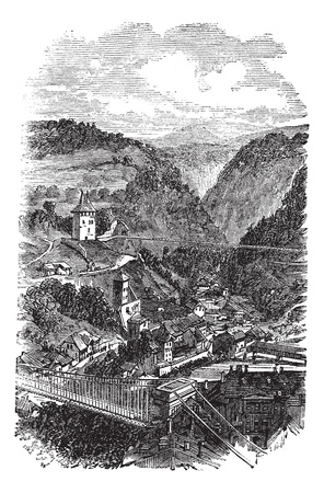 swiss alps: Fribourg or Freiburg im Uechtland in Switzerland, during the 1890s, vintage engraving. Old engraved illustration of Fribourg.