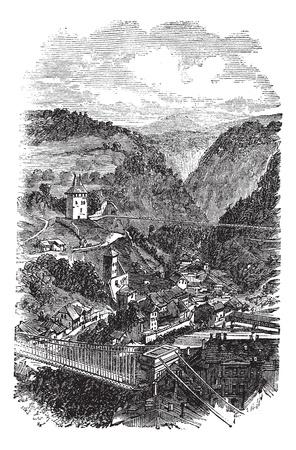 alpes suizos: Friburgo o Freiburg im Uechtland en Suiza, durante la d�cada de 1890, grabado vintage. Antigua ilustraci�n grabada de Friburgo.