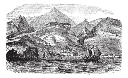 Funchal in Madeira, Portugal , during the 1890s, vintage engraving. Old engraved illustration of Funchal with moving boats in front and city in back.  Vector