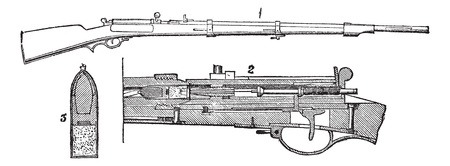 ammunition: Prussian needle- rifle, vintage engraving.  Old engraved illustration of Prussian needle- rifle (1) with inner section (2) and cartridge (3) isolated on a white background.