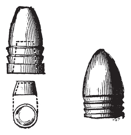 muzzleloader: Minie First Ball and ball of 1849, vintage engraving.  Old engraved illustration of Claude-Etienne Minie ,First ball (left) and Ball of 1849(right) isolated on a white background.  Illustration