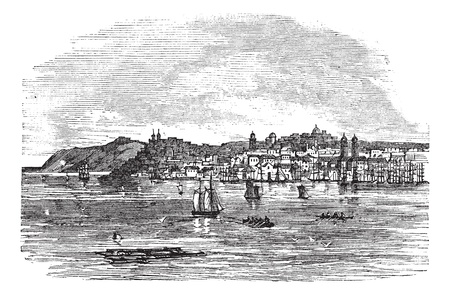 Galati in Romania, during the 1890s, vintage engraving. Old engraved illustration of Galati with moving boats in front and city in back.  Vector