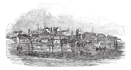 Gallipoli or Gelibolu in Turkey, during the 1890s, vintage engraving.  Old engraved illustration of Gallipoli with moving boats in front and city in back. Stock Vector - 13771762