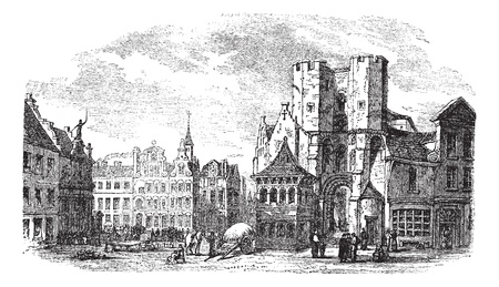 holy place: The holy place of Saint Pharailde and the old castle of Flanders in Ghent, Belgium, during the 1890s, vintage engraving. Old engraved illustration of holy place of Saint Pharailde and old castle of Flanders with people in front.