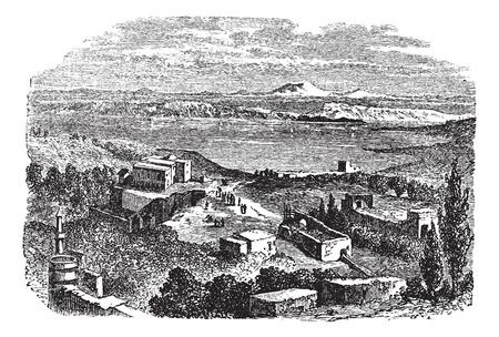갈릴리 또는 게네 사렛 호수 또는 키네 레트 또는 호수 티 베리 아스의 바다, 이스라엘, 1890 년대 동안, 포도 수확, 조각. 옛 앞 건물 갈릴리 바다의 그림 일러스트