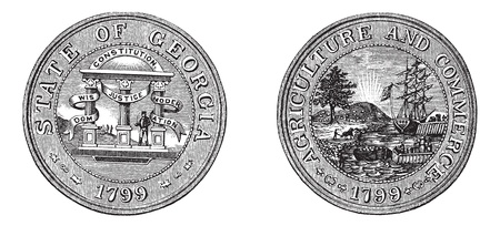 reverse: Great Seal of the State of Georgia, USA, vintage engraving. Old engraved illustration of Great Seal of the State of Georgia with both sides, isolated on a white background.  Illustration