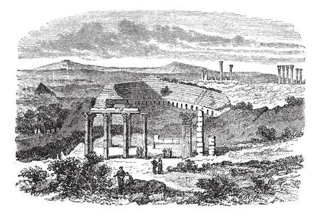 De ruïnes van Gerasa in Jordanië, tijdens de jaren 1890, vintage graveren. Oude gegraveerde afbeelding van de kleine theater ruïnes in Gerasa.