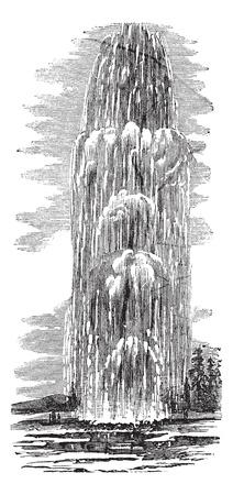 옐로 스톤 국립 공원, 미국, 1890 년대 동안, 포도 수확, 조각에 여자 거인 간헐천. 오래된 물 분출과 여자 거인 간헐천의 그림을 새겨 져있다.