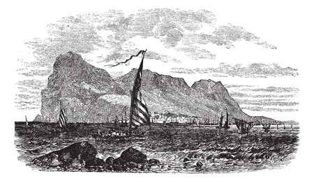 iberian: Gibraltar in Iberian Peninsula, Europe, during the 1890s, vintage engraving. Old engraved illustration of Gibraltar with moving boats in front.