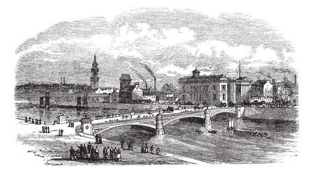 building sketch: Albert bridge in Glasgow, Scotland, during the 1890s, vintage engraving. Old engraved illustration of Albert bridge with buildings in back.