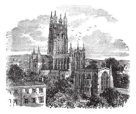 peter: Gloucester Cathedral or the Cathedral Church of St Peter and the Holy and Indivisible Trinity in Gloucester, England , during the 1890s, vintage engraving. Old engraved illustration of Gloucester Cathedral from the south west.