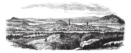 Gothenburg in Sweden, during the 1890s, vintage engraving. Old engraved illustration of Gothenburg.   イラスト・ベクター素材
