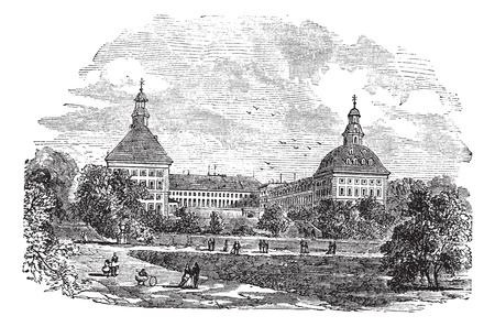 The ducal palace or Schloss Friedenstein or Friedenstein castle, in Gotha, Germany, during the 1890s, vintage engraving. Old engraved illustration of ducal palace with people in front.