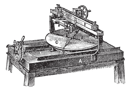 Engraving machine, vintage engraving. Old engraved illustration of Engraving machine with its functioning parts, isolated on a white background.  Vector