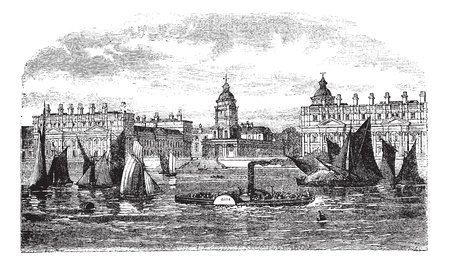 architectural heritage: Greenwich Hospital or Royal Hospital for Seamen, Greenwich, England, during the 1890s, vintage engraving. Old engraved illustration of Greenwich Hospital with moving boats in front. Illustration